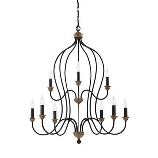 Feiss 9 Light Dark Weathered Zinc / Weathered Oak Chandelier