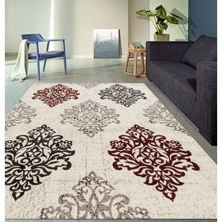 Transitional Damask High Quality Soft Red Area Rug (5'3 x 7'3)