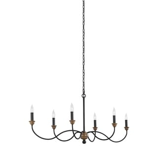 Feiss 6 Light Dark Weathered Zinc / Weathered Oak Chandelier