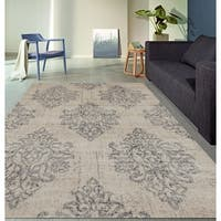 "Transitional Damask High Quality Soft Gray Area Rug - 5'3"" x 7'3"""