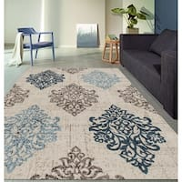 "Transitional Damask High Quality Soft Blue Area Rug (5'3 x 7'3) - 5'3"" x 7'3"""