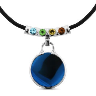 Glamfit Piper Sterling Silver and Black Leather Tube Multi-gemstone Fitness Tracking Necklace