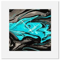 Eric Waddington 'Turquoise Swirl Clock' Midcentury Modern Style Wall Decor
