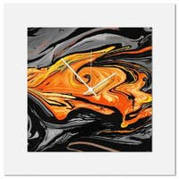 Eric Waddington 'Orange Swirl Clock' Midcentury Modern Style Wall Decor