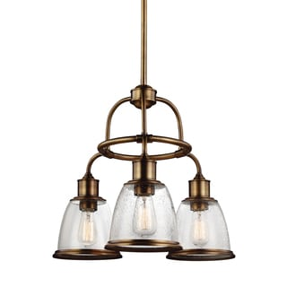 Feiss 3 Light Aged Brass Chandelier