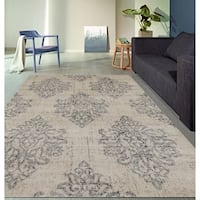 """Transitional Damask High Quality Soft Gray Area Rug - 3'3"""" x 5'"""