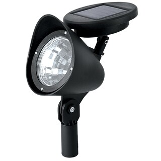 Paradise GL23836BK12 Black Plastic Solar Floodlight With Attached Solar Panel