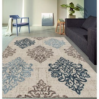 Transitional Damask High Quality Soft Blue Area Rug (2' x 7'2)