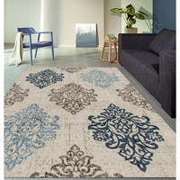 Transitional Damask High Quality Soft Blue Area Rug - 2' x 7'2""