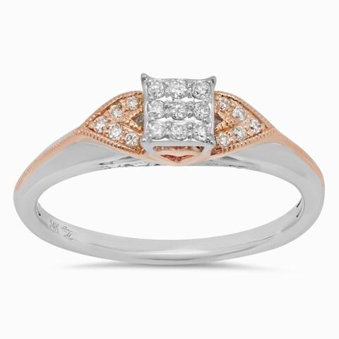 Sterling Essentials 14k White and Rose Gold 1/4ct TDW Diamond Engagement Ring - White I-J