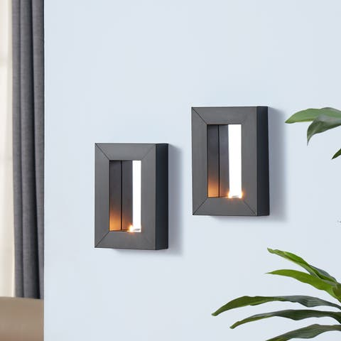Porch & Den Prairie Mirror Tealight Candle Sconces with Metal Frame (Set of 2)