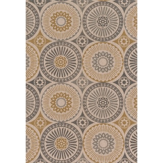 Printed Flatweave Brooke Grey/ Gold Rug (7'9 x 9'9)