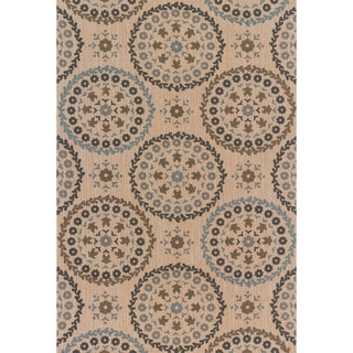 Printed Flatweave Brooke Natural/ Multi Rug (3'6 x 5'6)