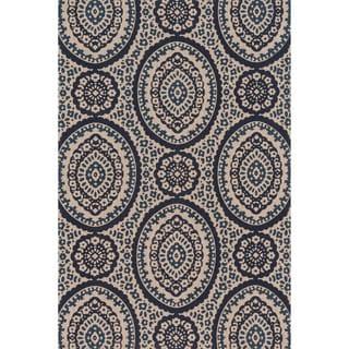 Printed Flatweave Brooke Natural/ Navy Rug (2'3 x 3'9)