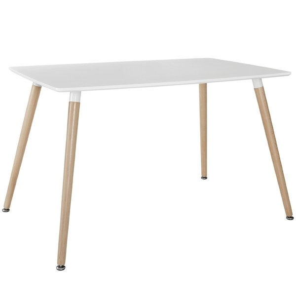 modern white small space dining table with natural wood legs white