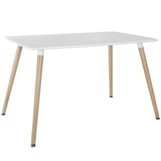 Modern White Small Space Dining Table with Natural Wood Legs (White)