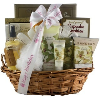 Vanilla Orchid Spa Luxuries Bath and Body Birthday Gift Basket