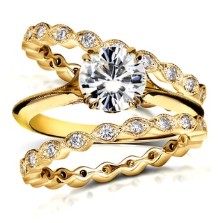 Annello by Kobelli 14k Yellow Gold 1 3/4ct TDW Diamond Antique Double Eternity Band Bridal Set