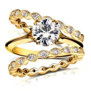 Annello by Kobelli 14k Yellow Gold 1 3/4ct TDW Diamond Antique Double Eternity Band Bridal Set