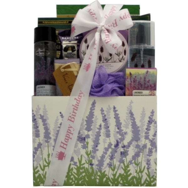 Lavender Spa Pleasures Bath and Body Birthday Gift Basket