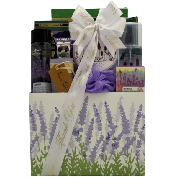 Lavender Spa Pleasures Bath and Body Thank You Gift Basket