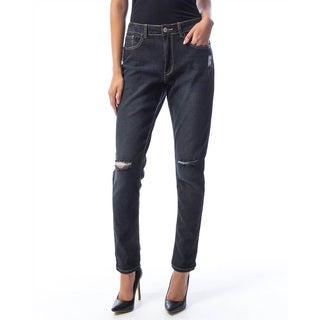 Jed Fashion Women's Black Mid-rise Distressed Skinny Jeans
