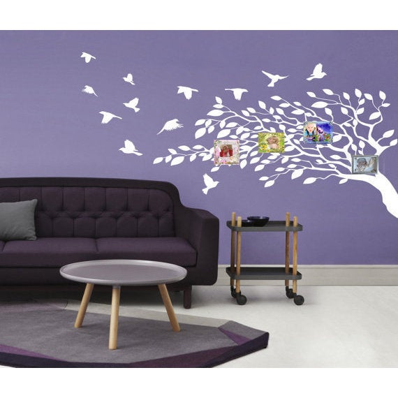 shop beautiful tree and bird wall art sticker decal white - ships to