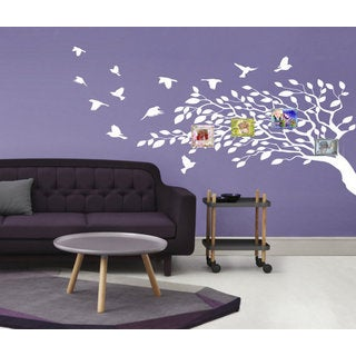 Beautiful tree and bird Wall Art Sticker Decal White