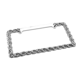 Pilot Automotive Chrome Braid License Plate Frame for Vehicles Automobile