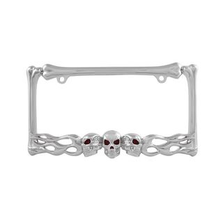 Pilot Automotive Skull and Flame License Plate Frame for Vehicles Automobile