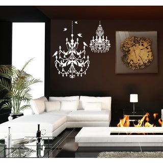 Beautiful chandeliers and birds Wall Art Sticker Decal White