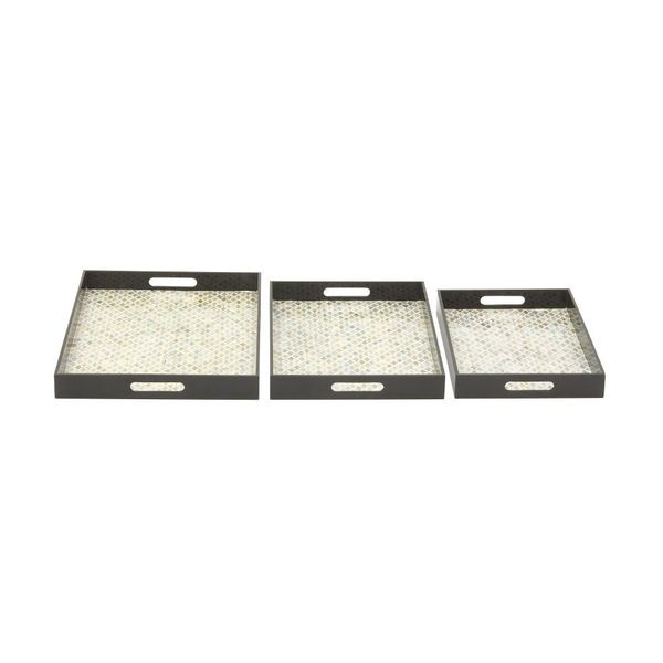 Benzara Contemporary Wood Shell Tray (Set Of 3)