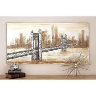 Contemporary 28 Inch Brooklyn Bridge Canvas Wall Art by Studio 350 - Brown
