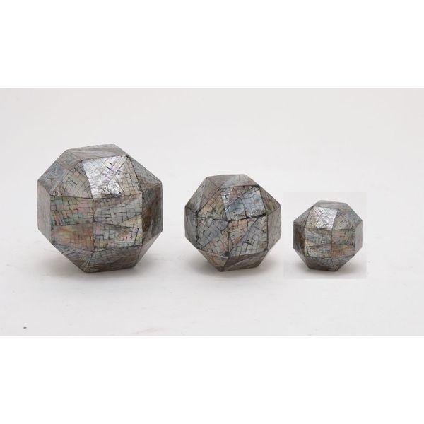 Benzara Ceramic Mop-inlay Orbs (Set of 3)