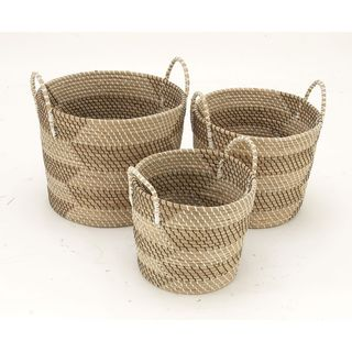 Benzara Sea Grass Basket (Set Of 3)