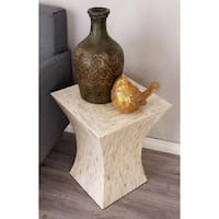 Contemporary 19 Inch Tapered Column Inlay Accent Table by Studio 350