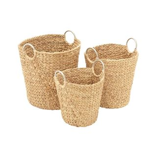 Havenside Home Buckroe 3-piece Tall Seagrass Basket Set
