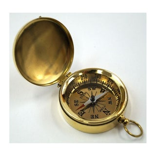 Goldtone Brass Pocket Compass With Lid