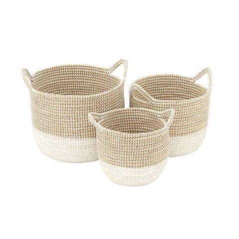 The Gray Barn Jartop White/ Tan Sea Grass Basket (Set of 3)