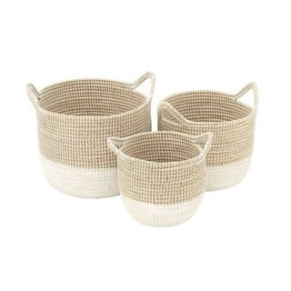 Benzara White and Tan Sea Grass Basket (Set of 3)