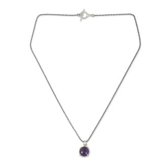Handcrafted Gold Overlay 'Bold Moon' Amethyst Necklace (Thailand)
