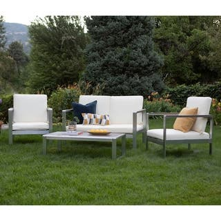 4-Piece Aluminum Frame Outdoor Chat Set
