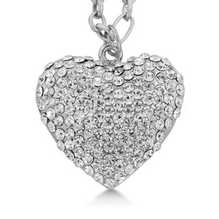 Adoriana Crystal Heart Chain Statement Necklace