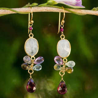 Gold Overlay 'Rainbow Snow' Multi-gemstone Earrings (Thailand)