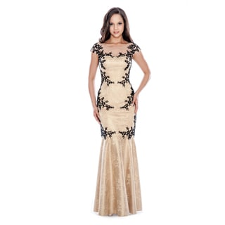 Decode 1.8 Women's Honey Long Lace Mermaid Dress with Floral Appliques