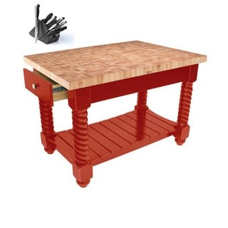 John Boos TUSI5432225EG-BR Tuscan Isle Boos Red Wood Block Table 52x32 & Bonus Henckels 13 Pc Knife Set