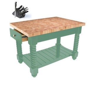 John Boos 54x32 Tuscan Isle Boos Block Cream Finish Wooden Block Table TUSI5432225EG-BS With 13-piece Henckels Knife Set