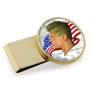 American Coin Treasures Goldtone Stainless Steel JFK Half Dollar Colorized American Flag Money Clip