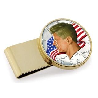American Coin Treasures Goldtone Stainless Steel JFK Half Dollar Colorized American Flag Money Clip