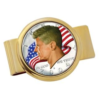 American Coin Treasures Goldtone JFK Half Dollar Colorized American Flag Money Clip